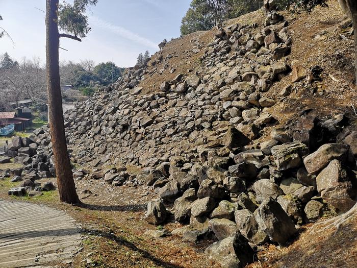 入り口から見た南曲輪石垣