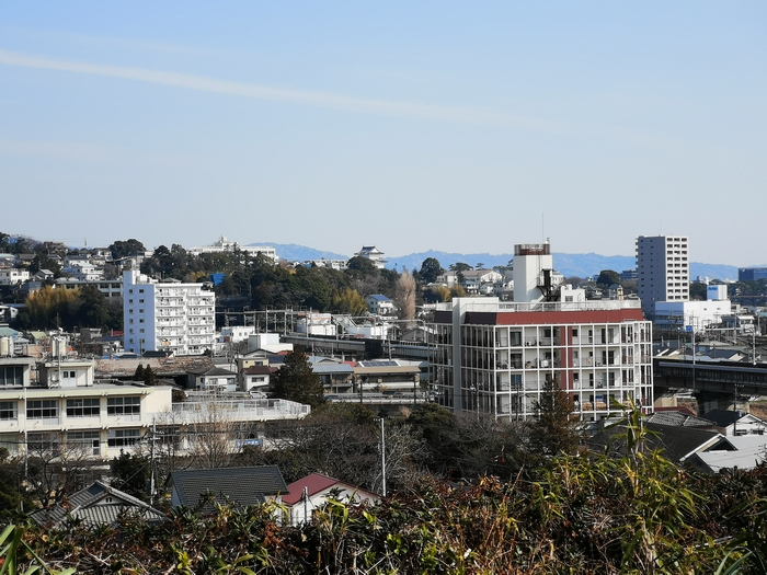 海蔵寺の墓地から見た小田原城(ズーム)
