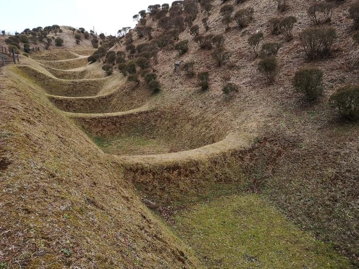 帯曲輪から見た畝堀