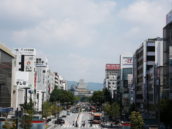 JR姫路駅から見た姫路城(ズーム)